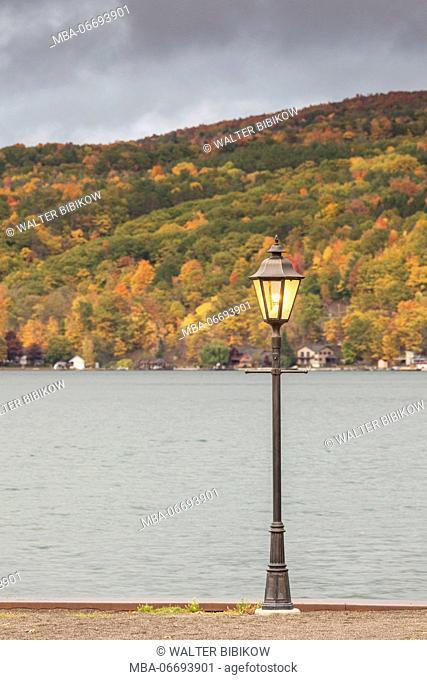USA, New York, Finger Lakes Region, Hammondsport, Keuka Lake, autumn and lightpost