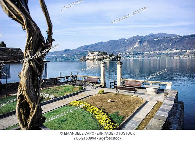 Gardens overlooking Lake, Town Hall, village of Orta, Lake Orta, Piedmont, Italy