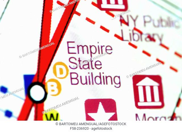 Detail of map: Empire State Building, Manhattan. New York City. USA