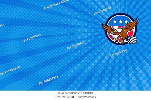 Business Card showing illustration of an american bald eagle clutching towing j hook with its talon viewed from side set inside circle with usa stars and...
