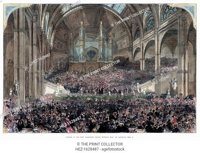 The opening of the new Alexandra Palace, Muswell Hill, 1st May 1875. A print from The Illustrated London News, 8th May 1875. Hand-coloured later