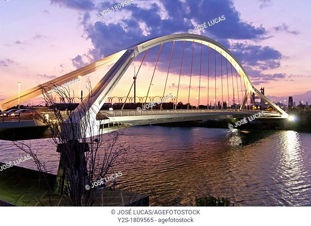 Barqueta bridge and Guadalquivir river, Seville, Spain
