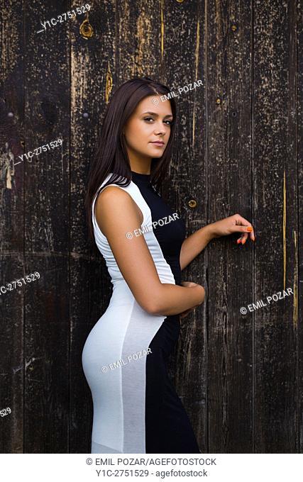 Teen girl Black and White long dress fake pregnancy