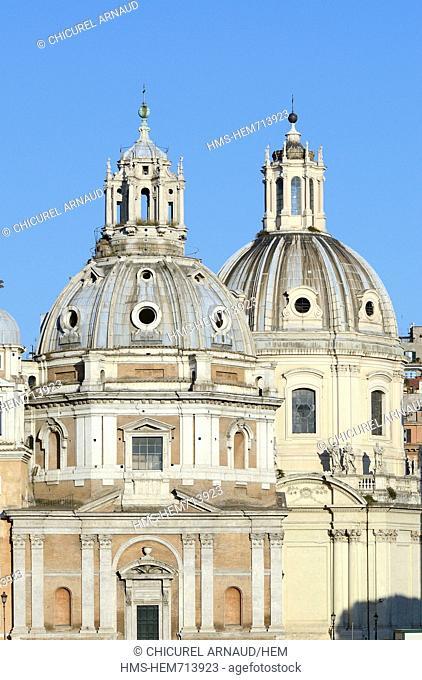Italy, Lazio, Rome, the Trajan's column and the cupolas of Santissimo Nome di Maria al Foro Traiano and Santa Maria di Loreto churches