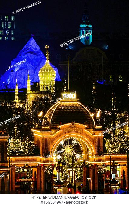 Main entrance to Tivoli with Christmas decoration, Copenhagen, Denmark, Europe