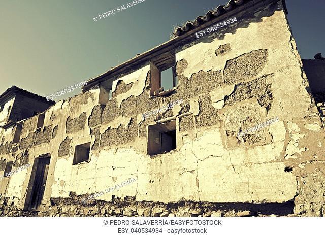 Abandoned rural building in Zaragoza Province, Aragon, Spain