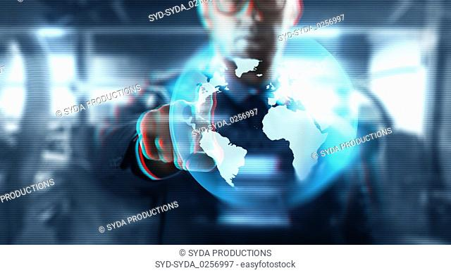 businessman with earth on virtual screen
