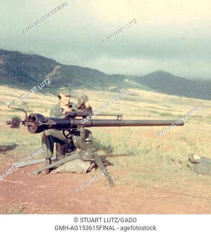 Members of the United States Marine Corps man a rocket artillery emplacement in the countryside in Vietnam during the Vietnam War, 1968. ()