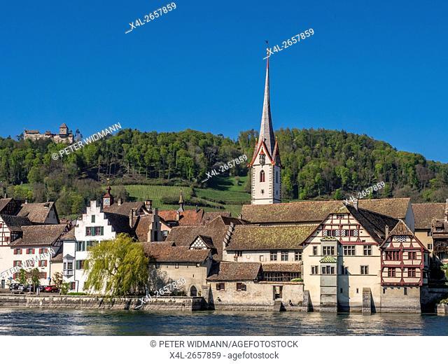 View of the historic centre of Stein am Rhein with St. George's Abbey, Stein am Rhein, Canton of Schaffhausen, Switzerland, Europe