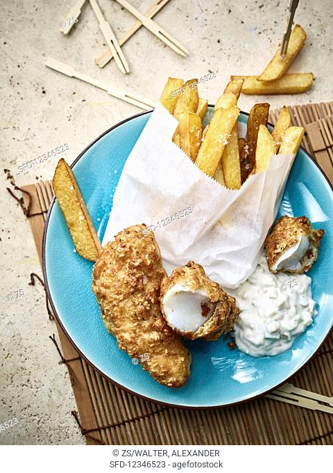 Fish and chips with apple remoulade