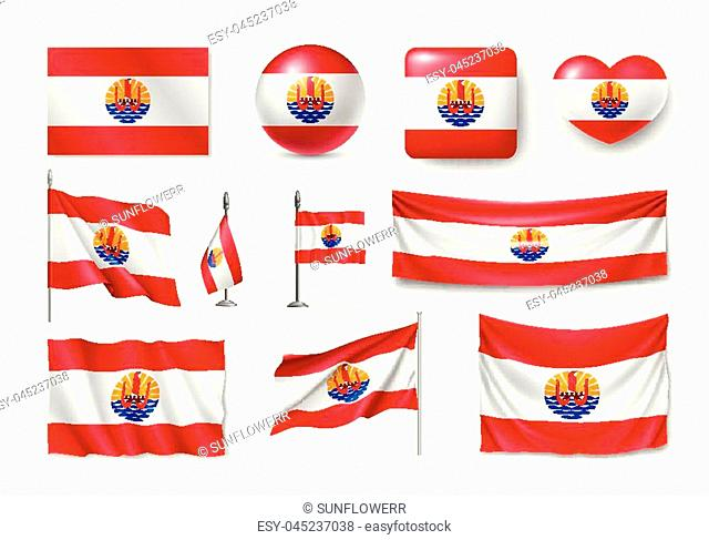 Set French Polynesia realistic flags, banners, banners, symbols, icon. Vector illustration of collection of national symbols on various objects and state signs