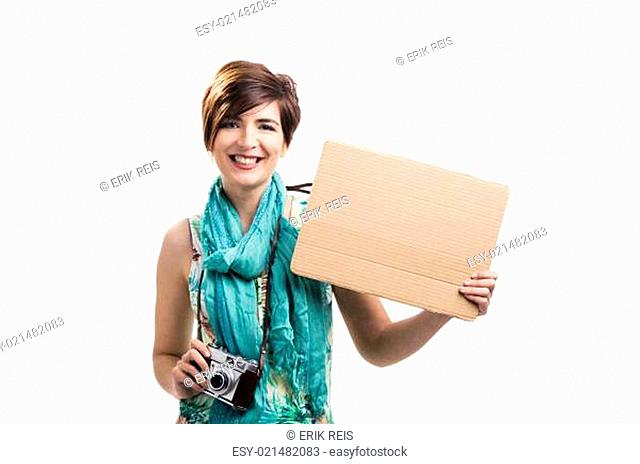 Woman with a cardboard