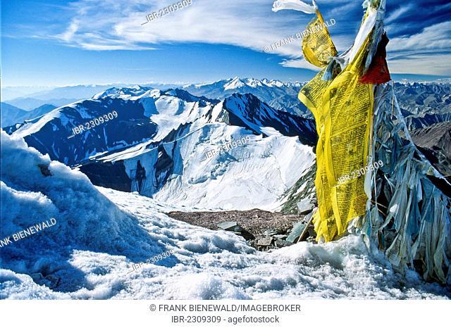 View from Stok Kangri mountain, 6,152 m, near Leh in Ladakh, India, Asia