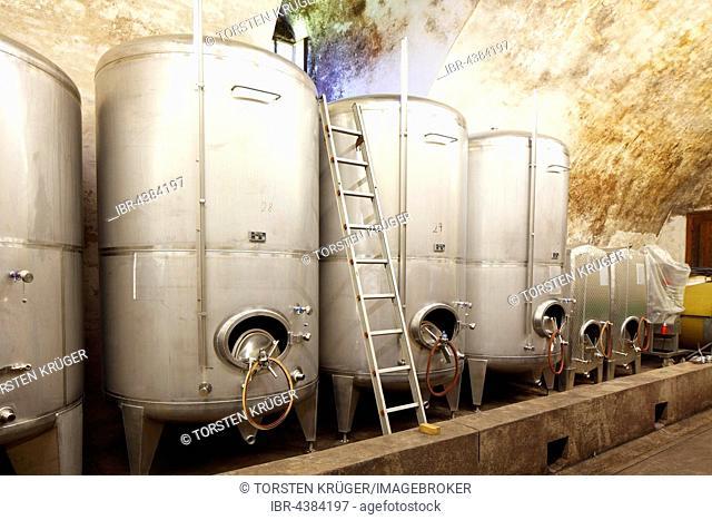 Stainless steel wine tanks, wine cellar in Johannisburg, Aschaffenburg, Lower Franconia, Franconia, Bavaria Schloss, Germany