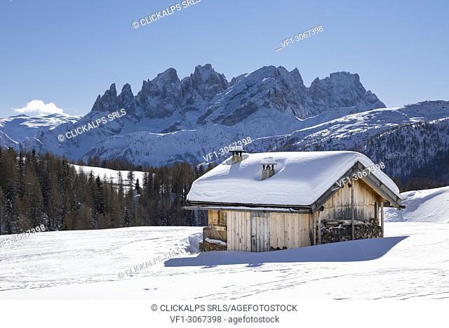 View on the Pale Group (Pale di San Martino) from the small village called Fuciade in San Pellegrino Pass (Soraga di Fassa, Biois Valley, Trento province
