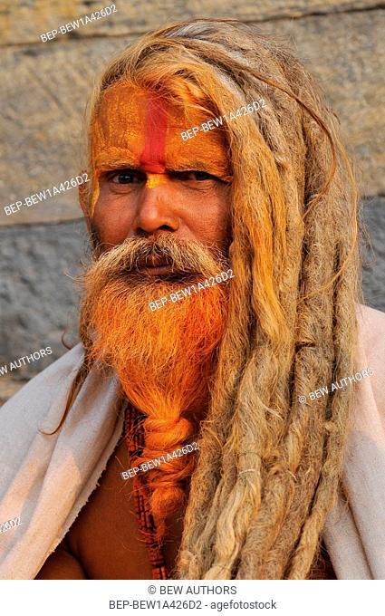 Nepal, Kathmandu, Sadhu holy man in Pashupatinath temple