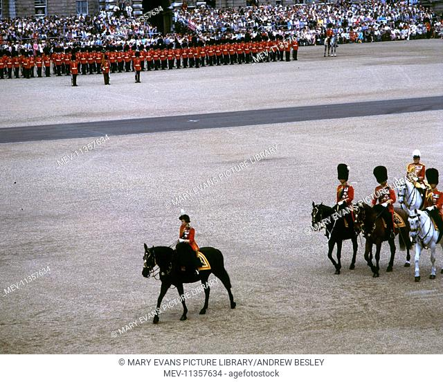Queen Elizabeth II riding at the Trooping the Colour ceremony for the last time in 1986 on her horse Burmese