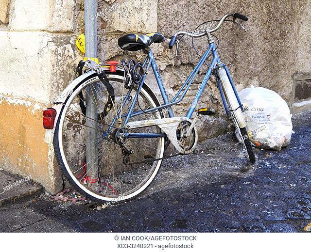 parked bicycle, Rome, Italy