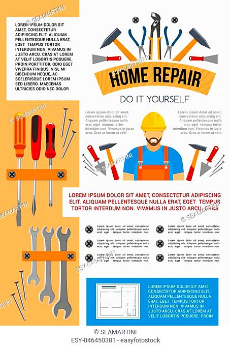 Home repair work tools and do it yourself toolbox poster for house construction or renovation. Vector handyman or carpenter grinder plane, building hammer