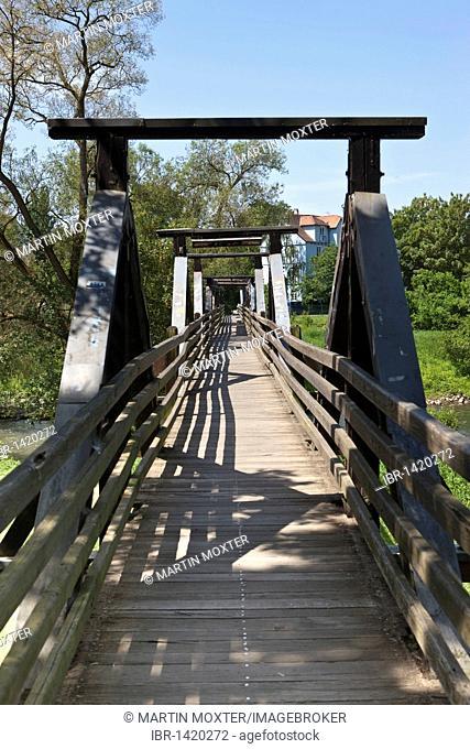 Old wooden bridge across the Lahn river, Marburg, Hessen, Germany, Europe
