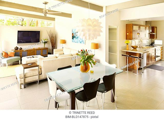 Modern kitchen, dining room and living room
