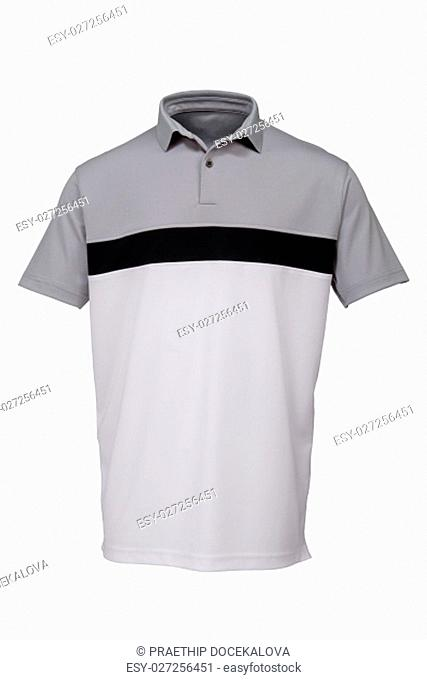 Grey, black and white golf tee shirt for man on white background