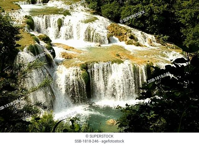 Waterfall in a forest, Krka Waterfalls, Krka National Park, Dalmatia, Croatia