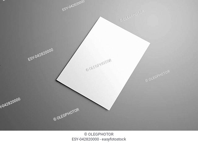 Business mockup with one blank A4, (A5) bi-fold brochure with realistic shadows isolated on gray background. The brochure is shows the backside cover