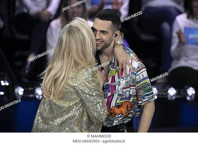 Italian tv host Mara Venier and italian egyptian singer Mahmood, winner of the music festival, during the episode of Domenica In dedicated to 69th Sanremo Music...