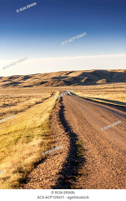 Road running through Grasslands National Park, Saskatchewan, Canada
