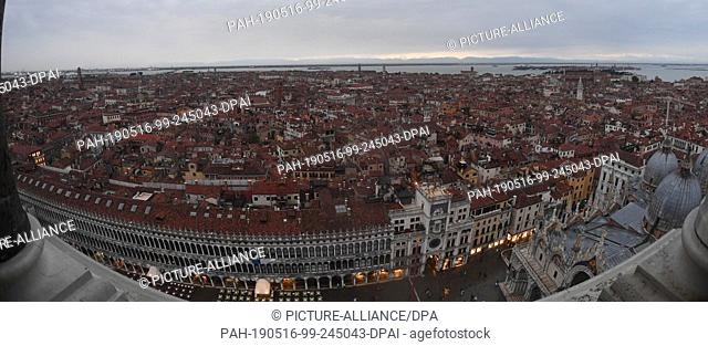 12 May 2019, Italy, Venedig: Wide Angle: Northern View From Campanile. From the Markusturm clouds lie over the city of Venice