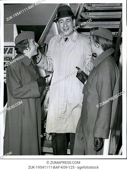 Nov. 11, 1954 - N.Y. International Airport, Nov. 29 - Popular Comic Shelly Berman Jokingly Accepts An Accusing Finger For His Popular Airline Comedy Routine...