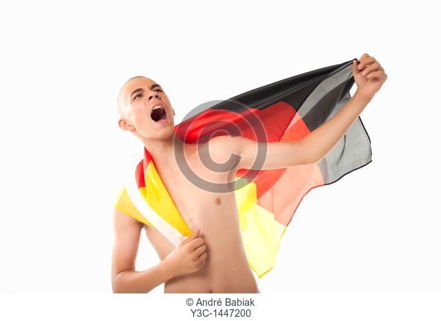 German Soccer Fan Cheering With Flag