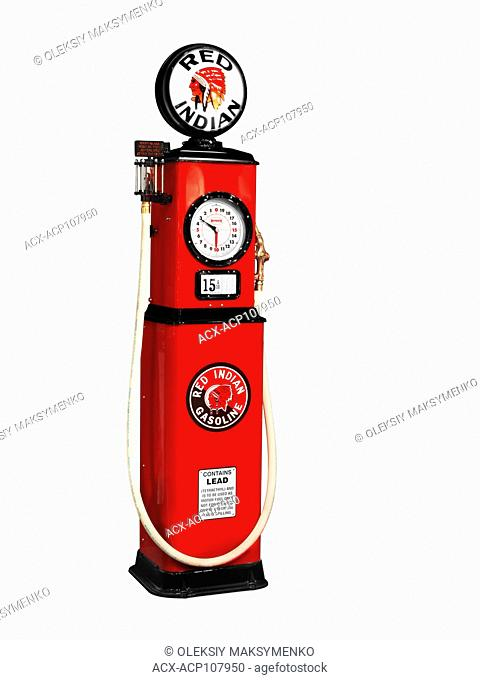 Red Indian Gasoline Canadian retro gas station pump isolated on white background with clipping path