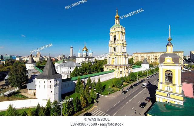 Aerial view of the Novospassky monastery in Moscow, Russia