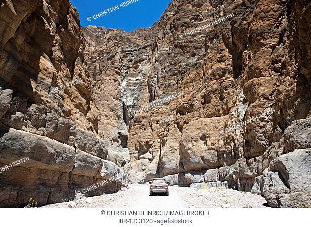 Titus Canyon with a car, Death Valley National Park, Mojave Desert, California, Nevada, USA