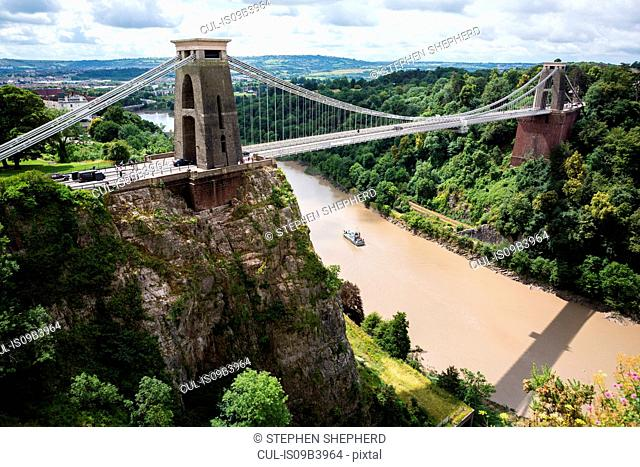 Clifton Suspension bridge, Avon Gorge and River Avon, Bristol, United Kingdom
