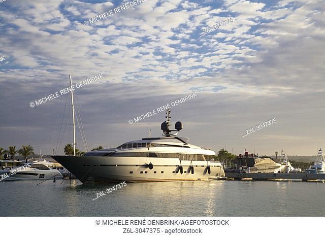 Yacht docked at Marina Casa De Campo at Sunset in La Romana Casa De Campo Marina at Punta Cana Dominican Republic