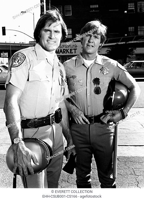 Bruce Jenner as Officer Steve McLeish with Larry Wilcox playing Jon Baker on 'CHiPs'. Jenner was the principle performer in several episodes of the NBC-TV...