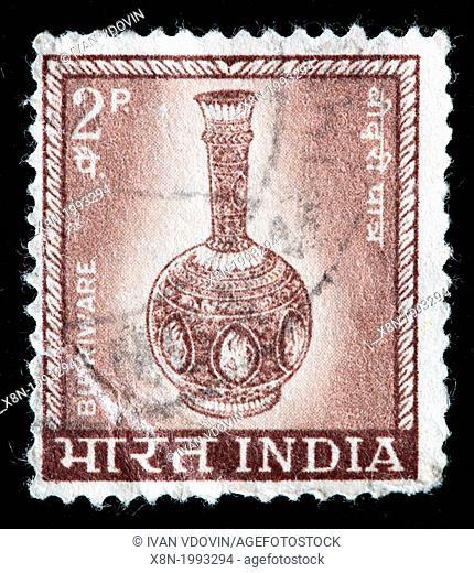 Bidri ware, postage stamp, India, 1965