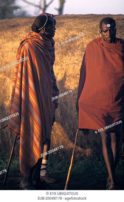 Maasai Moran or young warriors waiting for their intiation ceremony to start