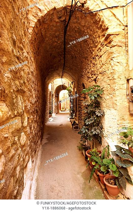 Medieavl streets of the Genoese mastic fort village of Mesta, Mastichochoria area of Chios Island, Greece