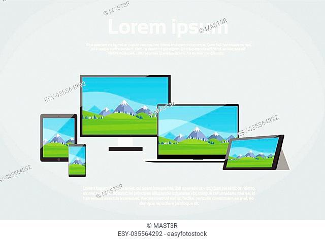 Responsive Design Photo Page Laptop Phone Tablet Desktop Device Screen Size Flat Vector Illustration