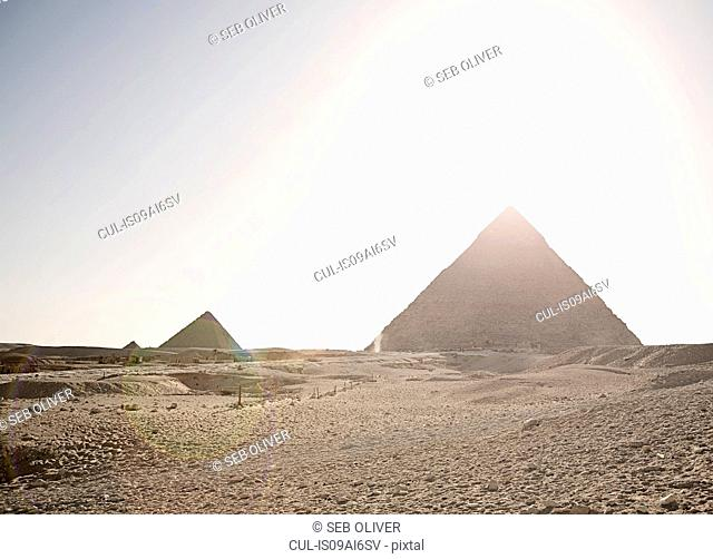 View of the great pyramids of Giza, Egypt, North Africa