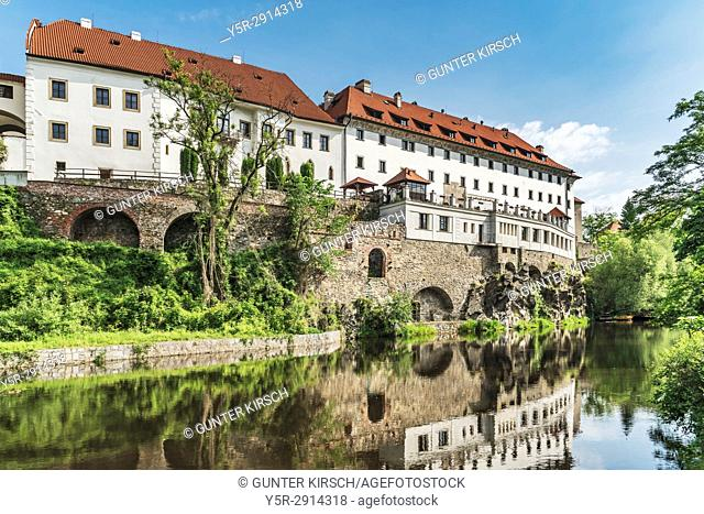 The building of the former Jesuit college is now the Hotel Ruze. On the left is the building of the Praelatur in the town Cesky Krumlov on the Vltava River in...