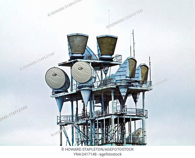 microwave communications relay tower in downtown Portland, Oregon
