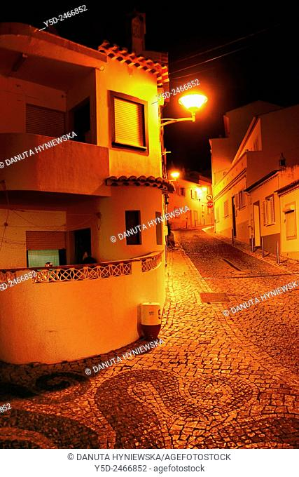 Europe, Portugal, Western Algarve, Faro district , Lagos, street scene at night, old town