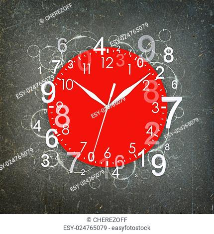 Clock face with white figures. Grunge background