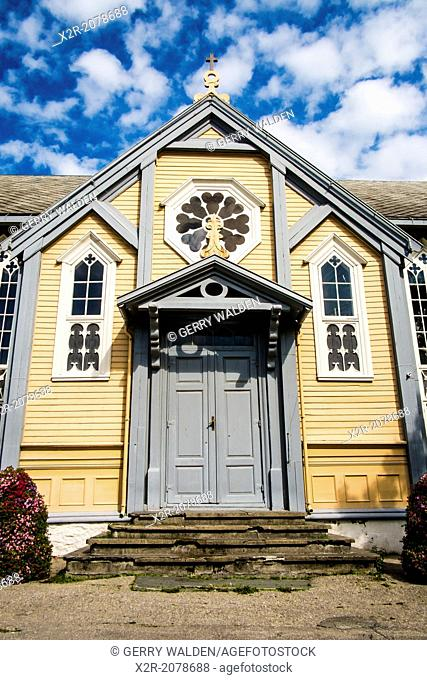 A side door to the wooden cathedral in Tromsí¸, Norway