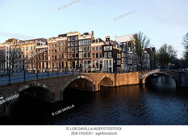 prinsengracht with leidsegracht in old town. amsterdam